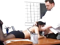 Breasty secretary in sheer hose has office sex