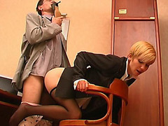 Slutty co-worker sniffing high heel shoes whilst fucking sexy hotty in black pantyhose