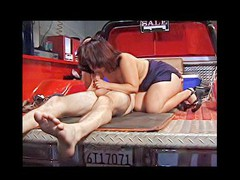 This horny aged pervert craves to try fitting his big obese dick in a truly taut muff and ends up fucking some shameless midget slut hard and loud right in the back of his red pickup truck.
