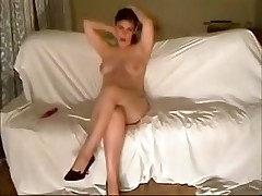 This curvy fem felt very shy posing before her BF's webcam at first but then that babe relaxed and teased him with her full boobs and soaking pussy.