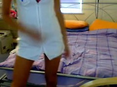 Fans of role playing webcam angels will love this next real homemade episode of a hawt and long legged blonde babe as this babe lazily take off that sexy nurse outfit and fill her muff with a bunch of sex toys!