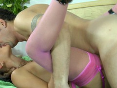 Upskirt chick in pink nylons with a garter belt going for a weenie-ride