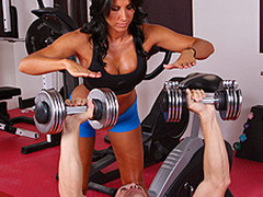 Lezley Zen's working as a personal coach and this babe's got a fresh client, but this hottie doesn't know which of the two guys it is in the gym. Johnny Sins tricks the other guy into leaving the gym so this chab's alone for some one on one time with Lezley. First Lezley shows him some proper ways to toning some muscles, then later Johnny shows Lezley some sexy work outs that gets her sweating!