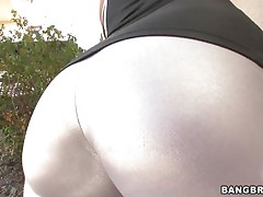A brunette hair milf has her huge butt oiled, then shoves a guy's face in it. This guy lays down, and she sits on his face. Then she gets on her knees and begins to suck his large hard cock. She knows how to deepthroat.