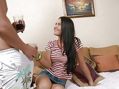 All this babe needed was a few glasses of alcohol but that last swallow made her turn into a dirty slut. Hanna saw the erection in this stud panties and this babe took out his hard cock. She laid on the sofa with him, got her ass massaged and that sweet constricted pussy and then started sucking. Damn this dark brown swallows weenie like a floozy