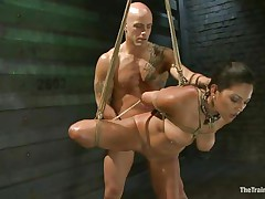 Such a cutie needs a hard fuck and some humiliation and that is exactly what the bald man gives helped by his buddy. He copulates her vagina from behind and then grabs her mouth so that babe would pay attention on what he says. Seeing her dominated truly makes you thinking if that babe will behave from now on.