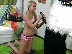 Naughty blond hotty with pony tails finds a new game to play with her favorite toy Mr. Panda. In the game, the panda is 'Sir Fuck-A-Lot' and blond is competing for the quest 'Who is a Whore? '. As the panda pulls out his large darksome dick, blond keeps showing her talents to prove herself a bawdy wench to win!