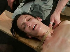 The fact she's scared and cries makes the torment even sweeter for me. i fastened her hard and the rope around her neck almost suffocates her so why the fuck that babe cries instead of trying to breath? Well, that's that, perhaps some hard pussy rubbing with a sextoy will make her happy, or at least to moan not cry
