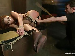 After breaking her self esteem it's time for that hot ass to be exploited. Kenzie finds out that this babe loves being treated like a worthless doxy and when the executor fingers her and spanks these hot legs this babe begs for more. A big hard schlong enters her tight anus, making Kenzie moan with great lust.