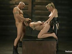Chastity Lynn is a submissive girl eager to fulfill her black raunchy desires. Aiden Starr and her friend Derrick Pierce are there to give her what she needs. The older hawt honey with a ding-dong goes on and copulates her bald pussy, while the white chap bashes her mouth roughly. They have a great time together.