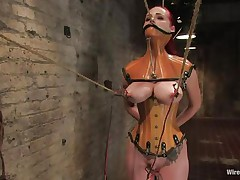 That babe was a very bad milf, that babe dominated and drilled a lot of cuties and now it's time for her to be disciplined. Her pussy is beginning to receive truly soaked because the brunette domina fastened her, added clamps on her nipps and pulled them hard. That babe is immobilized and now has to suffer until that babe will become an obedient slut.