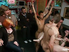 Proxy Paige is a blonde milf longing for punishment. The cute girl with tiny round natural milk shakes enjoys being fastened up and getting anal fucked in a bar. Gorgeous Lorelei Lee and Mr. Pete are making sure she acquires what she deserves. The white stud bangs her throat roughly as she moans with pleasure and pain.