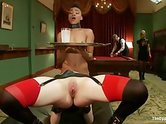 Lustful Juliette is licking Nikki`s constricted pussy, while getting fucked very hard. She is moaning with fun and receives her love tunnel spanked so hard, while Nikki receives her ass whipped. Nikki is the waitress tonight and has to hold a coaster and be careful not to spill it, even though she is almost cumming!