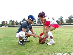 Canadian doxy Kylee wants to learn how to play baseball but the stud has something else in his mind. She in a short time ends up from the baseball field on his couch! These massive boobs, red hair and wet lips are awesome and and this stud is lucky to have her. Will that guy handle his knob better then she plays baseball?