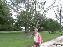 Beautiful blonde babe with small breasts is being offered money to go inside the Gangbang Bus. She refuses at first, but after being pressed, this babe lastly agrees to acquire in. Will this babe acquire screwed or will this babe only show her body?
