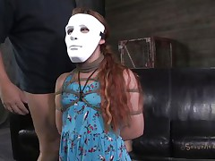 Hope Claire loves games coz she's part of one. The marvelous redhead wears a mask but not for long, glamorous soon her mask is removed and that babe is knelt in front of her executor's cock. That guy grabs her by the head and starts mouth fucking this bitch hard and merciless. Is Claire going to gag with his semen?