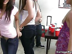 Two of the college sluts are showing their asses to the camera, then one of 'em is doing a lap dance to a guy. Like any party in college, the honeys are either flashing their titties or doing body shots. After drinking a lot of tequila, three honeys are having a threesome in front of their friends.