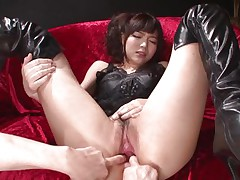 This innocent looking fur pie named Megumi is a fucking whore. She was laying on that sofa burning with lust when I came and start playing with her holes. Megumi offered her butt and enjoyed what I did to it. Using some sex toy I happy this bitch and stuffed her rectal hole and that juicy and juicy pussy.
