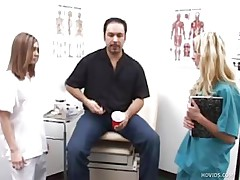 Mike goes to the doctor to see what's wrong with his dick. 2 nurses, Karen and Jenna, inspect his ramrod by making him jerk it in front of them. They help him give a sperm example by taking turning jerking his penis.