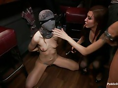 She had her entire face overspread in a mask they cut open a gap in front of her face hole and used that gap to insert a big powerful dick into her mouth. fat lady gets a bit of coddling from the chap before that guy gets back to fucking the face hole of the tied up girl and punishing her they wish to fuck her hard.