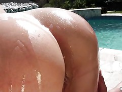 Golden-haired bitch, Viktoria Diamond is having a hardcore at outdoor. She has her round butt all oiled up and the gazoo & wet crack licked well. the the lascivious chap do her from behind. After having a bit drilling they are back to giving a kiss and fingering pussy. Viktoria gives a bit irrumation too. Than she begins to ride the pecker in full swing!