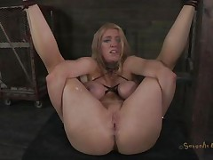 Bound up and with her legs widen this golden-haired experiences some hard fucking. The executor shows her no mercy and fucks her pussy unfathomable and hard whilst chocking her. She barely stands what that guy does and maybe a harder castigation will make this golden-haired even greater quantity resigned