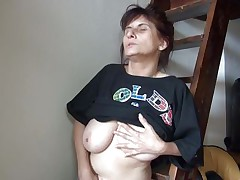 Old lady Vlasta receives so turned on on a ladder and takes her clothes off, during the time that touching her vagina and tits so hard. That babe keeps fingering her soaked snatch and groaning with so much pleasure. Then, the bitch sits down and spreads her legs 'coz that babe is ready to cum on a little red slide. Wanna know how this`ll end?