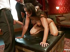 Brunette hair wench Penny is a slave at a sex party. This babe is made to engulf hard cocks, then gets her wazoo spanked. A large vibrator will solve the situation very well, making her cunt so wet and hot. The chap sticks his dick in her pussy from behind, but she wants to engulf some more and begins sucking the dildo!
