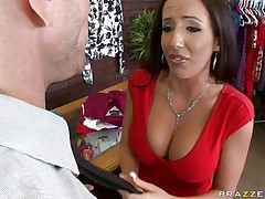 Johnny Sins is getting on one of his workers for trying to  steal something. Look at her long hair, her large fat tits and the way this babe groans while he licks her hard nipples. Do u think this babe is going to take some schlong in that obscene mouth?
