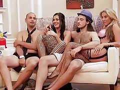 Those blond and darksome haired babes are with these 2 guys and looks like they are playing some kind of enjoyment games. But in a short time they begin to have some sexual fun! Right after that, they all acquire into the bathroom and one as well as the other of these 2 lewd babes begin sucking one of the guy's cock!
