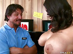 A lovely brunette hair with huge biggest billibongs and long curly darksome hair gets her tits massaged good by a lucky guy. She begins engulfing him off and playing with her nipples. Looking at her from this angle appears to be like that babe knows what that babe is doing. This guy just hopes he will get between her legs .