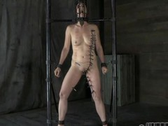 Gagged angel with clamped nipples acquires wild pleasure
