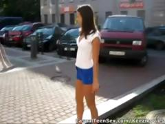 Young dude picks up cute brunette in the parking lot and takes her home to fuck