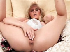Blond named Madison fingers her snatch