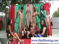 CFNM beauties enjoying studs in swing willing to be blowed off