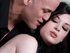 Kinky angel in collar is flawless girl in submission to him