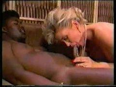 2 black guys fuck white whore in classic video