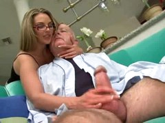 Super hot beauty in glasses fucked by chubby old man