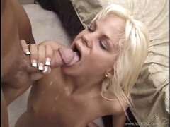 Sexual Shay Sweet gets her throat filled with warm ball cream