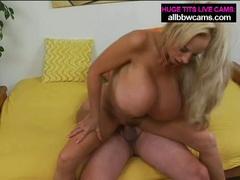 Mature blond milf with giant marangos sucks and bonks