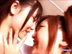 2 Angels In Aerobic Costume Giving a kiss Rubbing Bumpers In The Bathroom