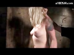 Blonde Girl Whipped While Washing The Dungeon Floor Getting Tied Spanked To Red With Stick
