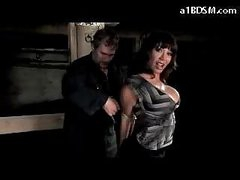 Breasty Hotty With Mouthgag Stripping Getting Fastened Up Fur pie Stimulated With Vibrator In The Dungeon
