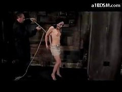 Girl With Moutgag On High Heels Getting Bound Up And Hanged Nipples Tortured With Videos In The Dungeon