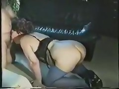 A fat lady gets all dressed up in her slutty lingerie and goes down on all fours. Expecting to be drilled from the back, she's surprised to see the rod in her face. Luckily, she adapts quickly and sucks on it.