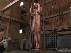 A metal cage and a harsh dominatrix-bitch is all that this vagina needs to be disciplined. Stick around and have a joy how the dominatrix-bitch plays with this naked angel and how compliant she will become. Every nasty whore merits a treatment like this!