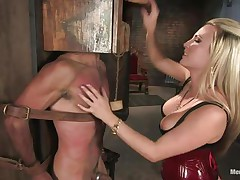 Domina Harmony doesn't allows men to do what they want, so, with the help of her chains and all sorts of simple but efficient tools she punishes this muscled guy, first by adding clothespins on his face and then by flogging him while he's in chains. She does her job perfectly and soon this fellow will be resigned enough