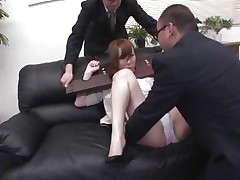 Now here's a concept that works! A horny oriental milf secured with a servitude device seems not agree what's going to happen with her large booty. But after the fellow cuts her panties with scissors and inserts his finger in her constricted shaved asshole she suddenly starts moaning and enjoys the treatment.