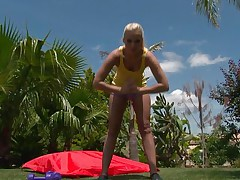 Watch this golden-haired sweetheart as she works out her hawt body. After a few exercises she takes off her raiment and discloses that hawt body, this sweetheart has long hawt legs, a cute ass, small hawt boobs and long gorgeous legs. This babe is showing us what she has and makes our jocks hard.