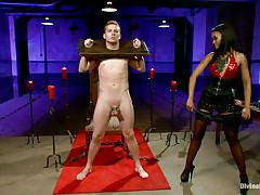 Queen Skin Diamond fastened Sebastian Keys with fetters. The ebon goddess whips his miniature dong until its raw and red. She makes him implore for greater quantity and squeal like a perverted little piggy as she clamps his teats and puts clothespins all over his body.